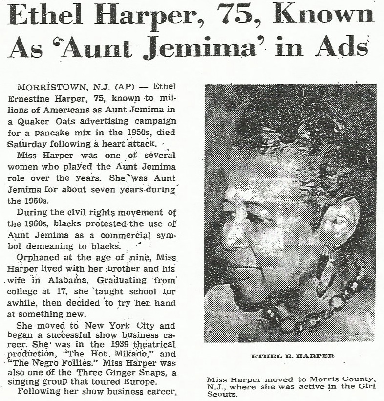 Ethel Harper Obit