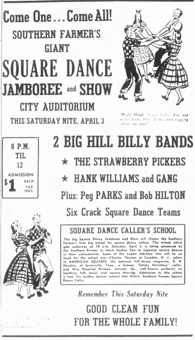 Large ad, Strawberry Pickers & Hank dance