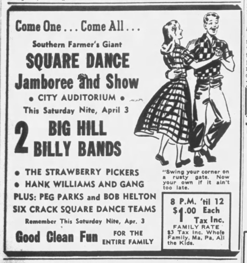 Strawberry Pickers, Hank Williams square dance ad