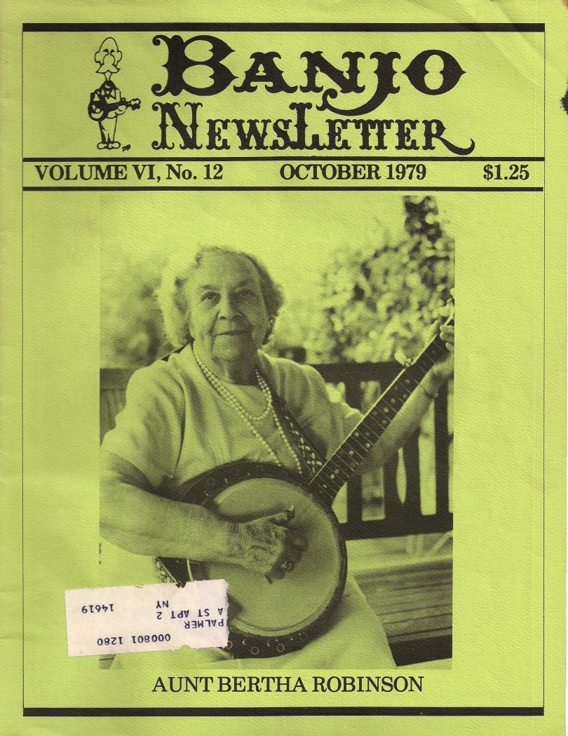 Aunt Bertha Robinson, Banjo Newsletter Oct 1979