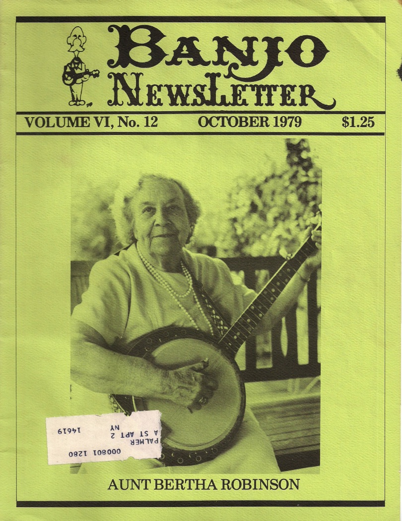 Aunt Bertha Robinson, Banjo Newsletter Oct 1979