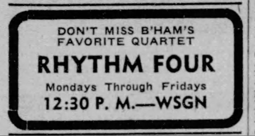 Rhythm Four fave quartet ad 1942