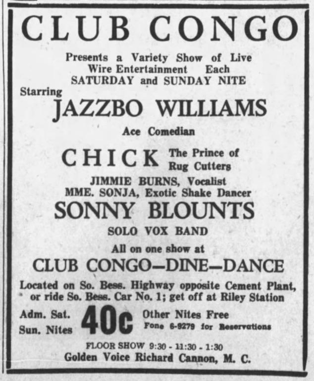 Sonny Blount Club Congo 1942