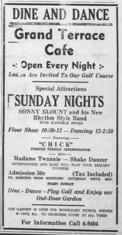 Sonny Blount Grand Terrace ad 1943